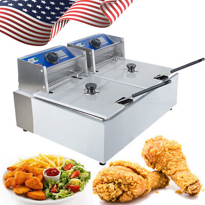 【USA】Electric 11L Dual Tanks Deep Fryer Commercial Tabletop French Fry Fast Food
