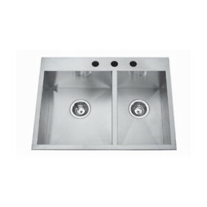 Kindred QCLF2027R/8 27 x 20 Dual Mount Double Bowl Sink 1 Hole