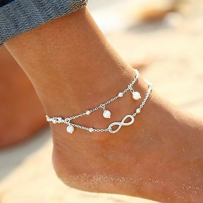 Women 925 Sterling Silver Plated Charm Anklet Bracelet Jewelry Beach Birthday