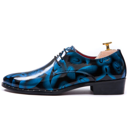 Mens Casual Lace Up Chunky Party Dress Shiny Leather Printing Round Toe Shoes