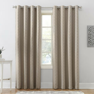 3 Curtain Panels - New Oatmeal blackout 52x95 triangle pattern