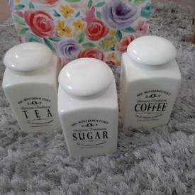 Tea coffee and sugar holders