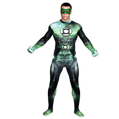 Adult Men Green Lantern Cosplay Superhero Costume Halloween Comic-con Bodysuit