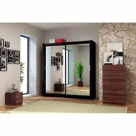 BERLIN 2 DOOR WARDROBE AVAILABLE IN 4 COLOURS BLACK WALNUT WENGE AND WHITE