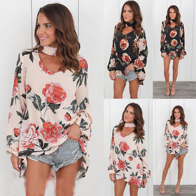 US Women Choker V-Neck Long Sleeve Blouse Floral T-shirt Loose Tops Plus Size GB