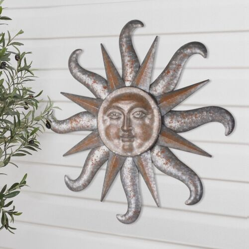 "Large Sun Burst Rustic Outdoor Decorative Brown Metal Soleil Wall Art Decor 31"""