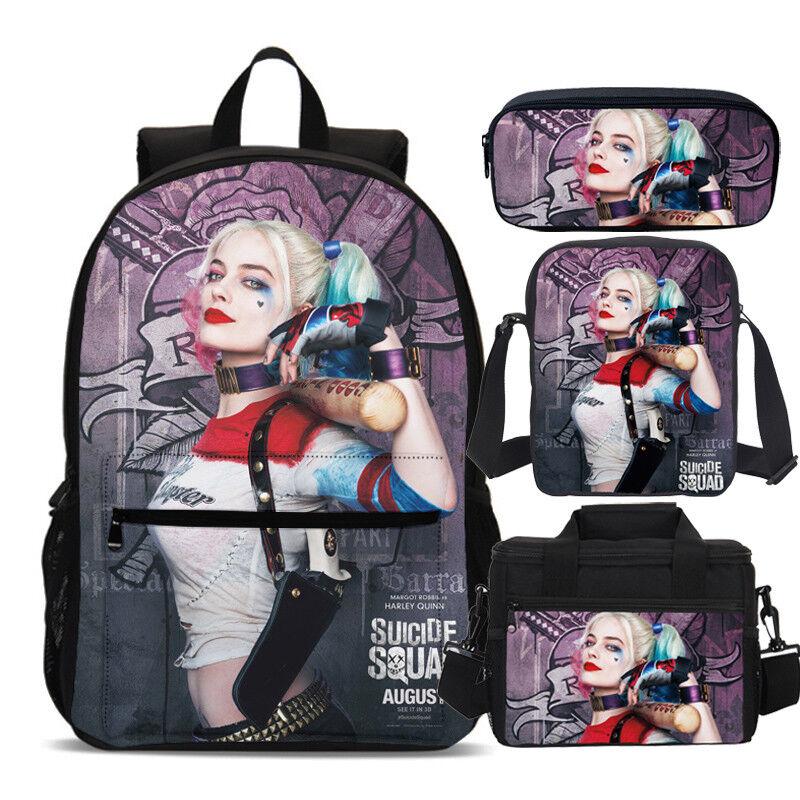 Suicide Squad Harley Quinn Kids School Backpack Lunch Bag Sling Bag Pen Case Lot