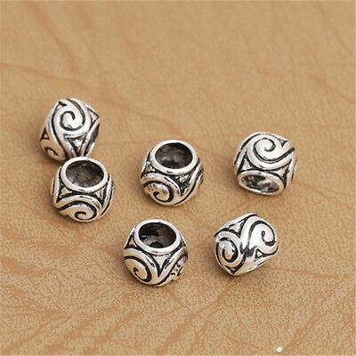 (6 Sterling Silver Large Hole Spiral Beads 925 Silver for European Bracelet)