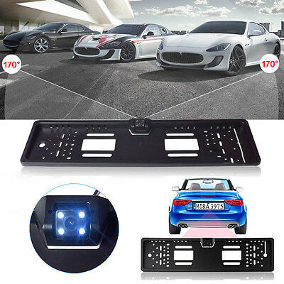 EU Car License Plate Frame Rear View Reverse Back up Parking Night Vision Camera