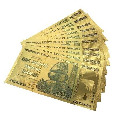 10pcs Zimbabwe 100 Trillion Dollars Banknotes Color Gold Bill Free shipping