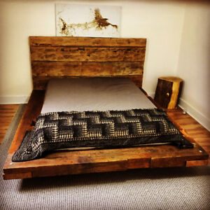 Rustic Bed, Barn Wood Platform Beds sizes-  King Queen or Double