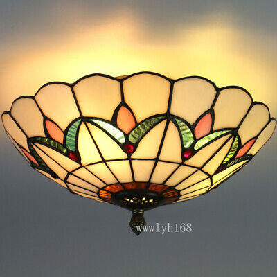 Tiffany Style Semi Flush Mount Ceiling Light Pendant Lamp Stained Glass -