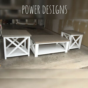Weathered Grey Top and White Base Coffee Table