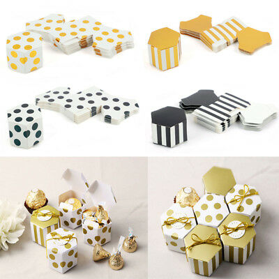 (10Pcs Stripe Dots Candy Boxes Hexagon Chocolate Gift Box Wedding Party Supplies)