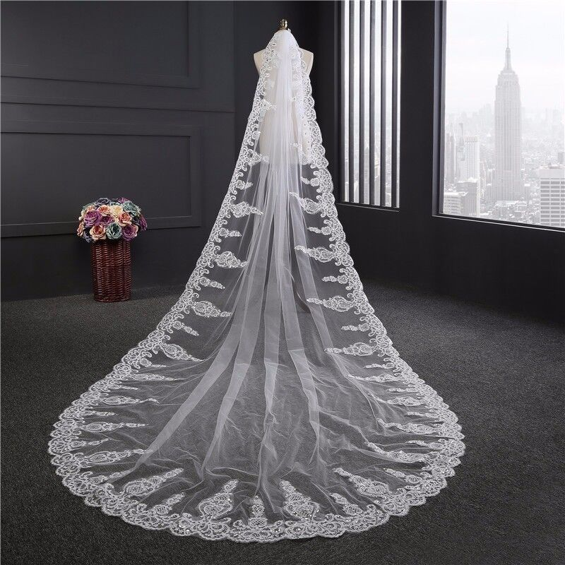3M New Black Cathedral Wedding Veils Lace Appliques Long Bridal Veil With comb