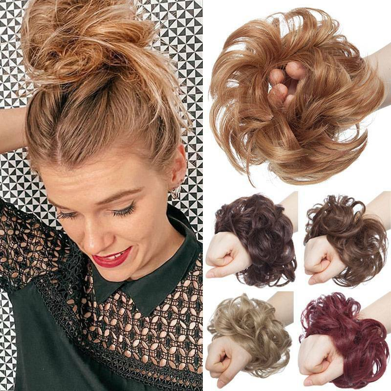 Messy Hair Piece Bun Hair Scrunchies Curly Wavy Synthetic Chignon Updo Hairpiece Ebay