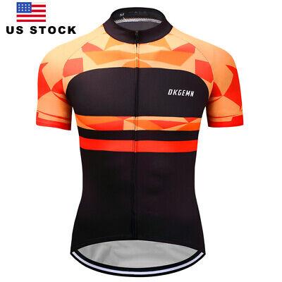 Mens Cycling Jersey Man Short Sleeve Jerseys Bike Riding Shirt Breathable Orange