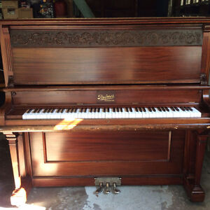Antique Mahogany Upright Grand Piano
