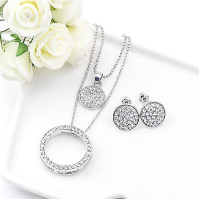 Silver Plated Austrian Crystal Ring Jewelry Set Pendant Necklace Stud Earrings Austrian Crystal Jewelry Set
