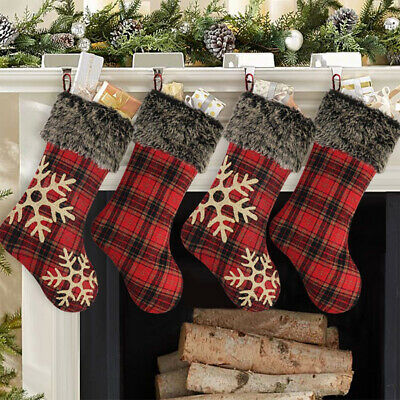 Large Christmas Stocking (18'' Christmas Stockings Large Plaid Snowflake Plush Xmas Party Decor)