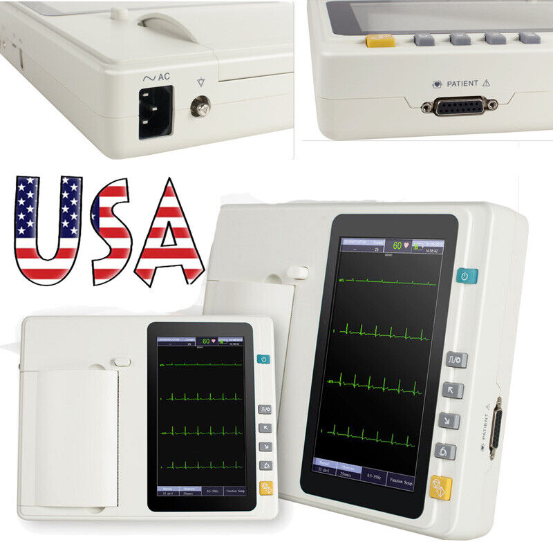 "7"" 12-Lead Portable 6-channel Electrocardiograph ECG/EKG Machine interpretation"