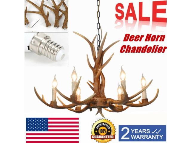 6 Head Retro Deer Horn Pendant Lamp Resin Antler C