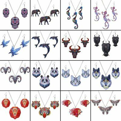 Butterfly Owl Animal Elephant Acrylic Earrings Necklace Jewelry Set Women Gift ()