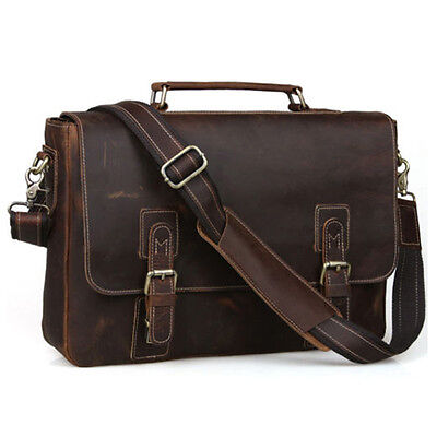 "Gents Vintage Cow Real Leather Briefcase Messenger Bag 15"" Laptop Case Crossbody"