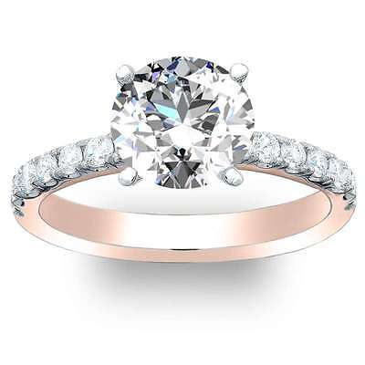 1.6 Ct. Natural Round Cut Pave Diamond Engagement Ring - GIA CERTIFIED 14k