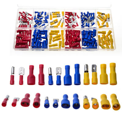 200pcs Female Male Spade Bullet Insulated Wire Connector Crimp Cable Terminal