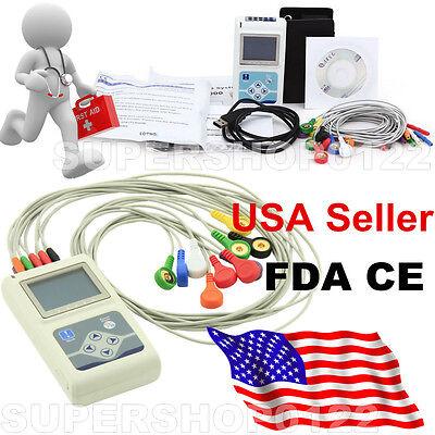 12-lead System 24hour Record Analyze Ecg Waveform Holter Ecg Usa Contec Tlc5000