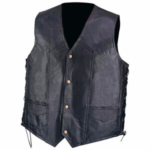 Mens Genuine Black Leather Bike Tour Motorcycle Vest Lace  2X  N