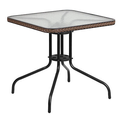 28 Square Tempered Glass Metal Table W Brown Rattan Edging - Restaurant Table