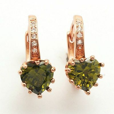 Rose Gold Plated Olive Green Heart Shape CZ w/Accents Leverback Hoop Earrings