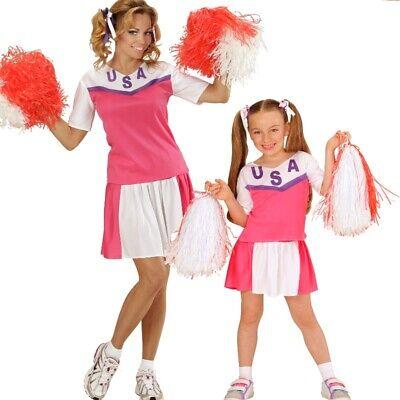 Damen Kinder Cheerleader Sport Kostüm 2tlg pink-weiß Gr. 116 cm bis Gr. 44 - Sport Kostüm Kinder
