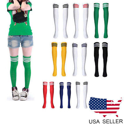 Women Football Soccer Striped Thigh High Over The Knee Tube Socks Stocking Beamy