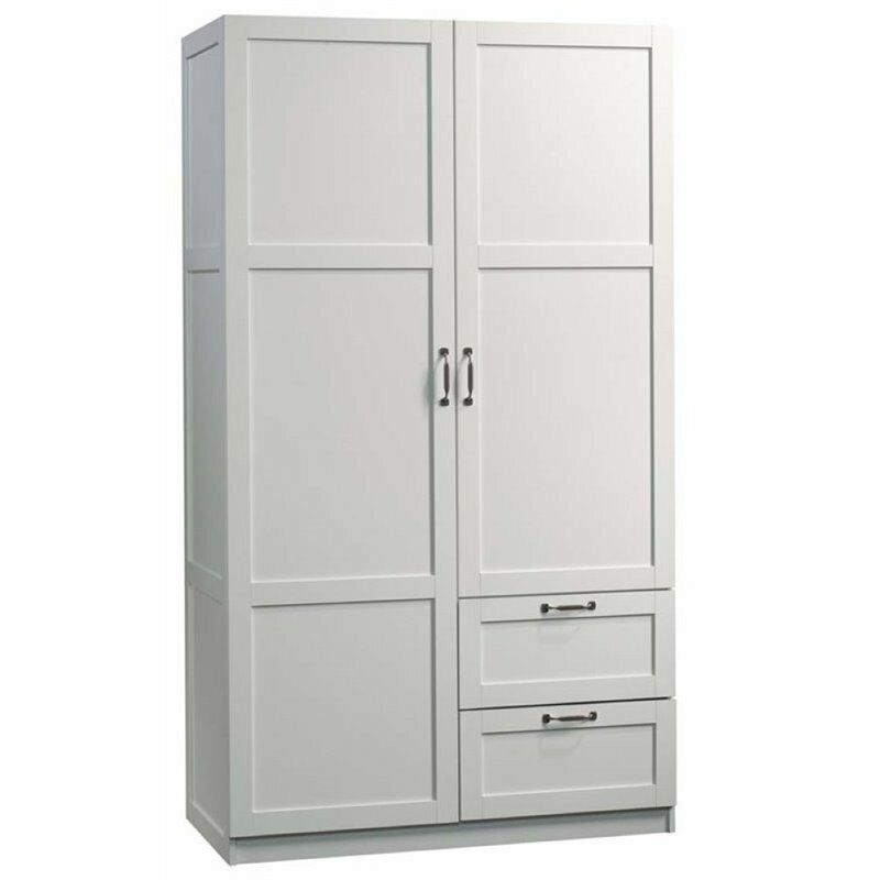 "Pemberly Row 71"" 2-Drawer Wardrobe Armoire in White"