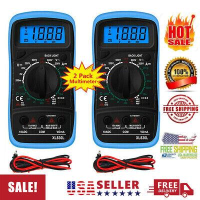 2 Pack Digital Multimeter Lcd Voltmeter Ammeter Ohmmeter Ohm Volt Tester Us