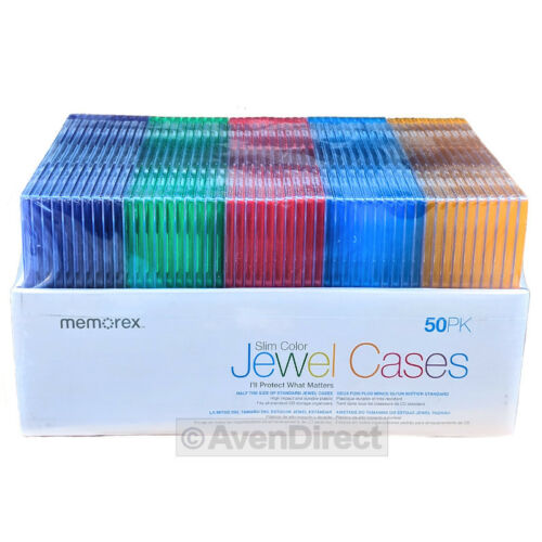 100 (50x2) Memorex Single Slim Multi Color CD DVD Jewel Case Box [FREE SHIPPING]