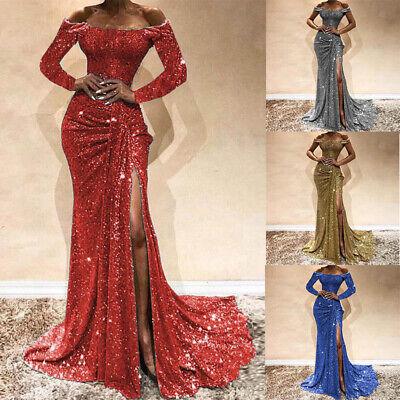 Long Dresses Bodycon Wedding Gown Evening Dress Women Maxi Formal Party (Off The Shoulder Long Sleeve Mermaid Wedding Dress)