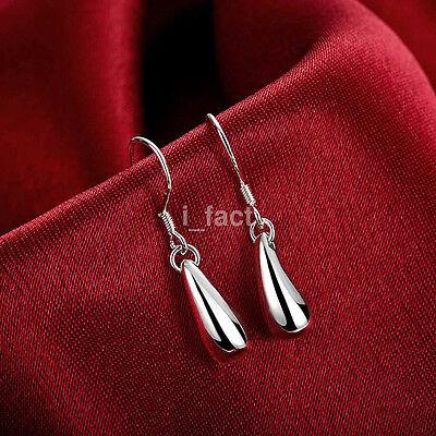 Elegant Women 925 Silver Plated Water-drop Dangle Earring Studs Fine Jewelry