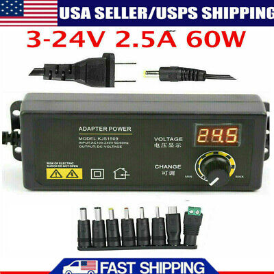 3v-24v 2.5a 60w Adjustable Dc Power Supply Adapter Control Volt Display 8 Plugs