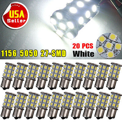 20x Super White 1156 Interior Light RV Camper Trailer 27 SMD LED 1141 1073 Bulbs