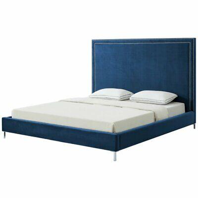 Tristan Blue Velvet Platform Bed Frame - King Size - Nailhead Trim King Size Traditional Bed Frame