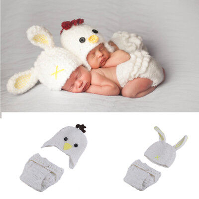Baby Costume Newborn Crochet Pant + Hat outfits Photography Prop White Rabbit  ](Infant White Rabbit Costume)