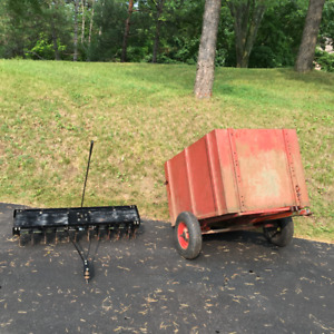 Garden Trailer and Spike Lawn Aerator