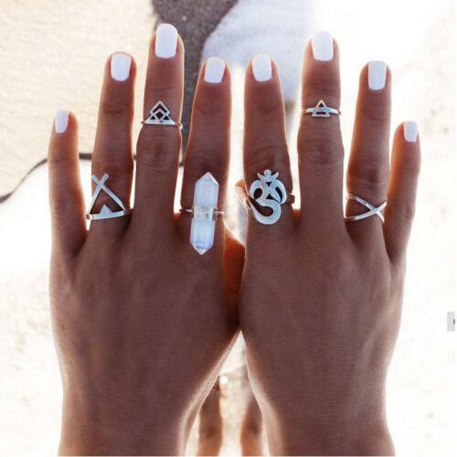 6pcs Silver Boho Women Stack Plain Above Knuckle Ring Midi F
