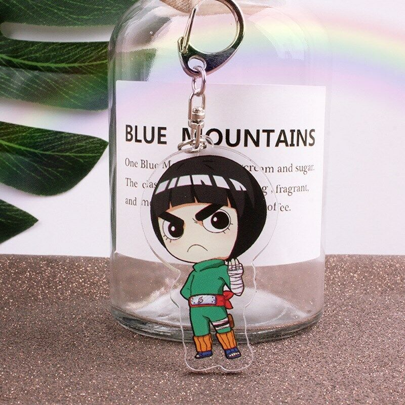 Naruto Rock Lee acrylic Keychain Key Ring Two faces Bag Ornament Keyring