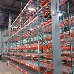 used pallet rack, industrial shelving and other equipment.