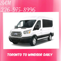 TORONTO TO WINDSOR DAILY AT 11-AM /FREE WIFI/226-975-8996 SAM